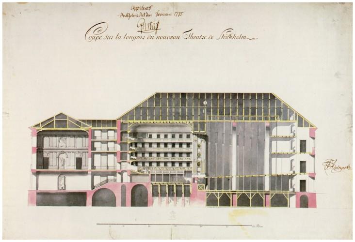 Ritning från 1775 av arkitekten Carl Fredrik Adelcrantz (1716-96). Ritningen visar det Gamla Operahuset, det s.k. Gustavianska, vilket var i bruk 1782–1891. Det revs efter 110 år och ersattes av det hus som vi ser idag. Det kallas det Oscarianska och ritades av Axel Anderberg. Det nya huset stod färdigt att brukas den 19 september 1898. Bilden tillhör Public Domain och tillgängliggjord av Holger Ellgaard.